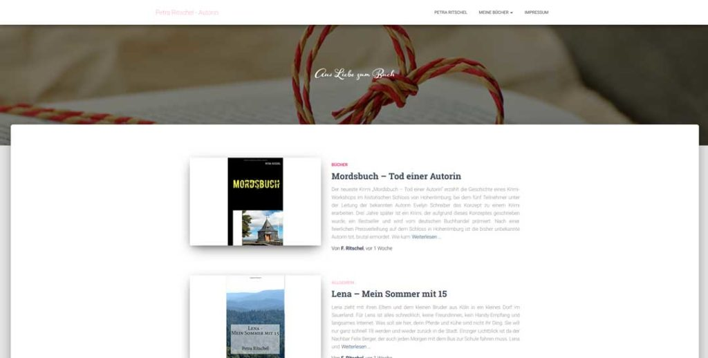 Website für Autorin - Petra Ritschel