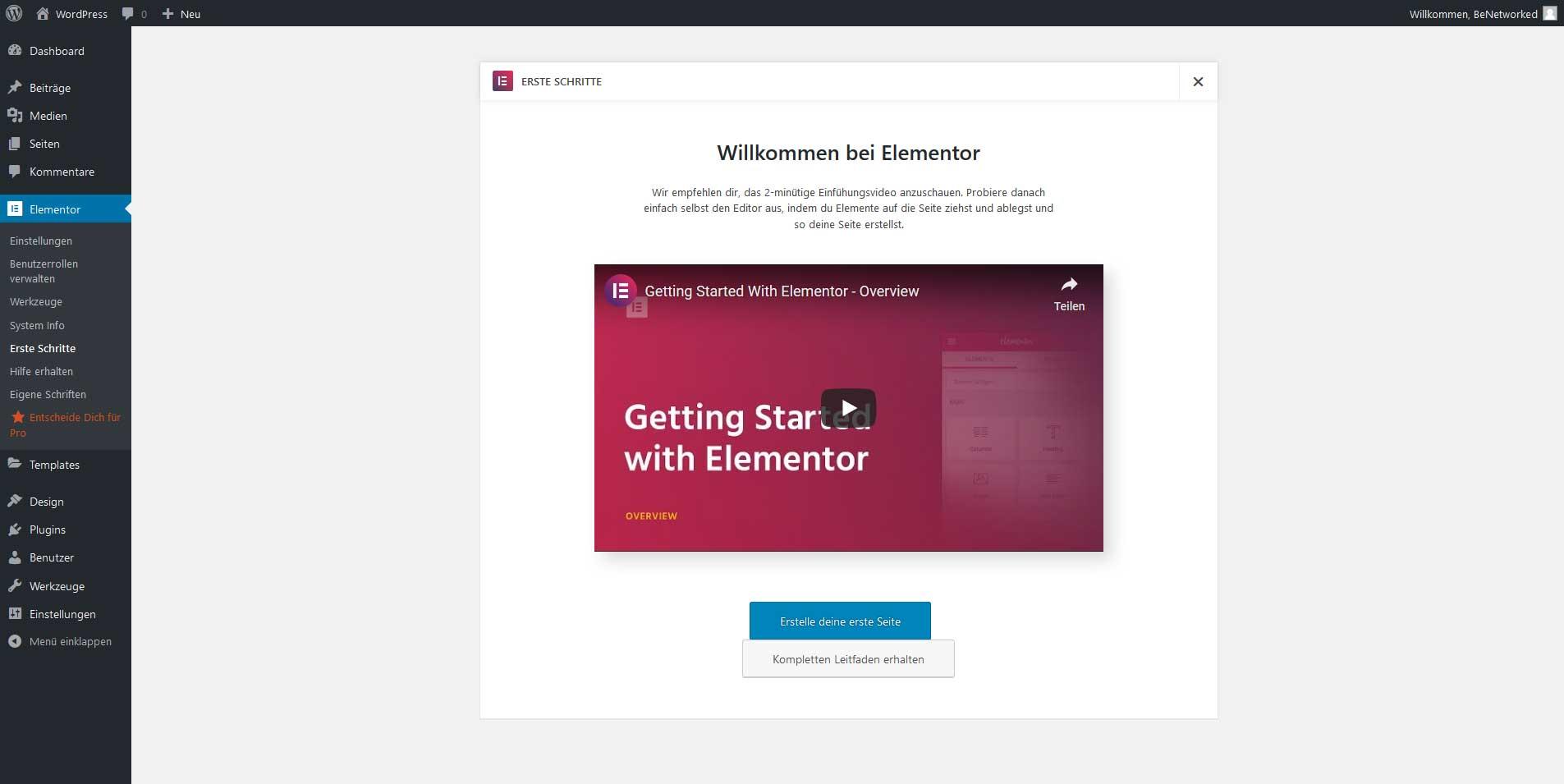 WordPress - Willkommen bei Elementor - Page Builder