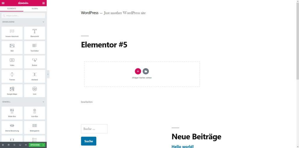 Elementor - PageBuilder - Menü