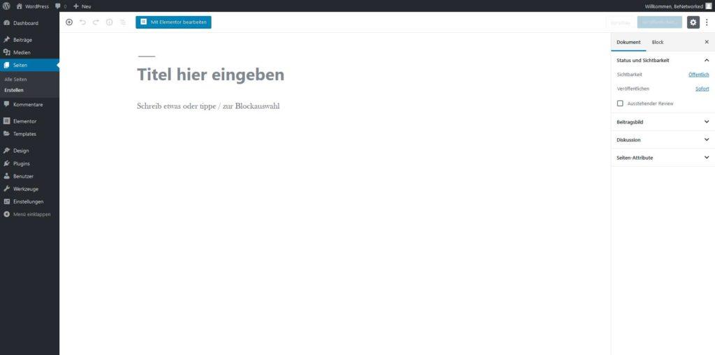 WordPress neue Seite erstellen